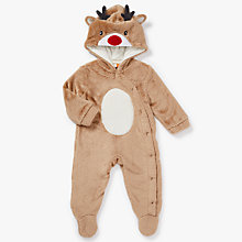 Buy John Lewis Baby Dress Up Reindeer Onesie, Brown Online at johnlewis.com