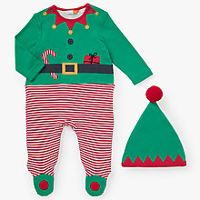 Buy John Lewis Baby Dress Up Elf Onesie, Green Online at johnlewis.com
