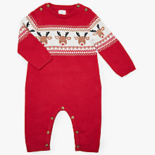 Buy John Lewis Baby Christmas Reindeer Intarsia Romper, Red Online at johnlewis.com