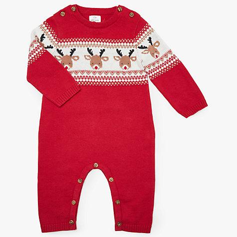 Buy john lewis baby christmas reindeer intarsia romper red john buy john lewis baby christmas reindeer intarsia romper red online at johnlewis negle Image collections