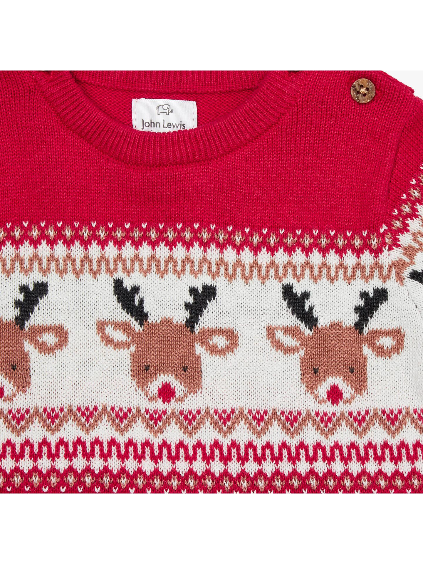 8ca894aa9 Buy John Lewis Baby Christmas Reindeer Intarsia Romper, Red, Newborn Online  at johnlewis.