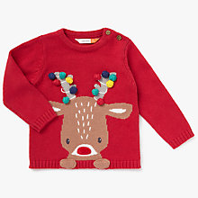 Buy John Lewis Baby Christmas Reindeer Jumper, Red Online at johnlewis.com