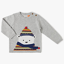 Buy John Lewis Baby Christmas Polar Bear Jumper, Grey Online at johnlewis.com