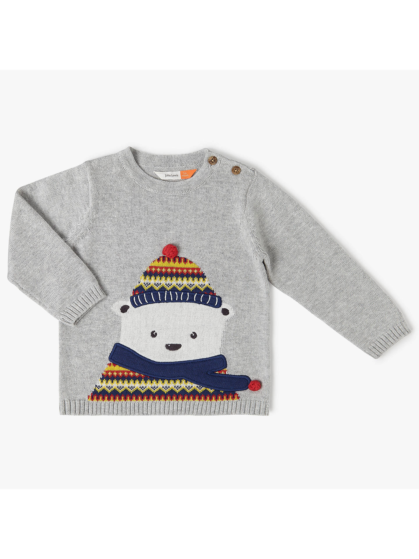 BuyJohn Lewis Baby Christmas Polar Bear Jumper, Grey, 0-3 months Online at johnlewis.com