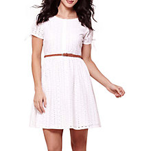 Buy Yumi Broderie Anglaise Belt Dress, White Online at johnlewis.com