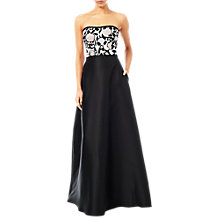 Buy Adrianna Papell Satin Bandeau Gown, Light Pink/Black Online at johnlewis.com
