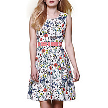 Buy Yumi Sleeveless Floral Print Belted Dress, Ivory/Multi Online at johnlewis.com