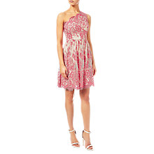 Buy Adrianna Papell One Shoulder Lace Party Dress, Coral/Nude Online at johnlewis.com