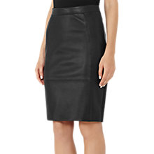 Buy Reiss Avril Leather Panel Skirt, Black Online at johnlewis.com