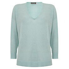 Buy Mint Velvet V-Neck Side Split Linen Knit Jumper, Aqua Online at johnlewis.com