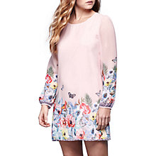 Buy Yumi Tropical Floral Print Long Sleeve Dress, Soft Pink Online at johnlewis.com