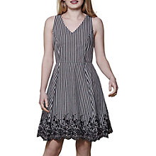 Buy Yumi Stripe Embroidery Dress, Black Online at johnlewis.com