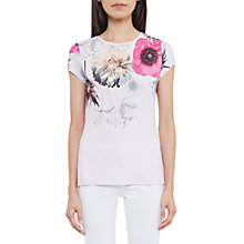 Buy Ted Baker Gulesa Neon Poppy Fitted T-Shirt, Pink Online at johnlewis.com