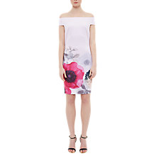 Buy Ted Baker Wiyea Neon Poppy Bardot Bodycon Dress, Nude Pink Online at johnlewis.com