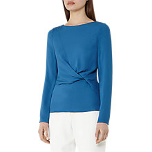 Buy Reiss Knot Detail Long Sleeve Top, True Blue Online at johnlewis.com