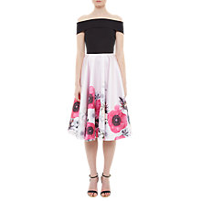 Buy Ted Baker Lairea Neon Poppy Bardot Midi Dress, Nude Pink Online at johnlewis.com