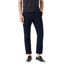 Buy Jigsaw Garment Dye Italian Cotton Linen Trousers, Chalk Navy Online at johnlewis.com
