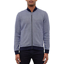 Buy Ted Baker Gonow Ribbed Detail Cotton Jersey Bomber Jacket, Blue Online at johnlewis.com