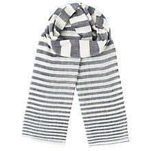 Buy Jigsaw Stripe Cotton Linen Scarf, Blue Online at johnlewis.com