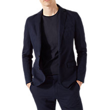 Buy Jigsaw Cotton Linen Garment Dyed Slim Fit Blazer, Chalk Navy Online at johnlewis.com