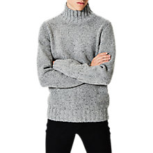 Buy Selected Homme Janus High Neck Flecked Jumper, Light Grey Melange/Black Neps Online at johnlewis.com