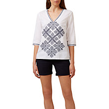 Buy Hobbs Rosetta Embroidered Cotton Top, White Online at johnlewis.com