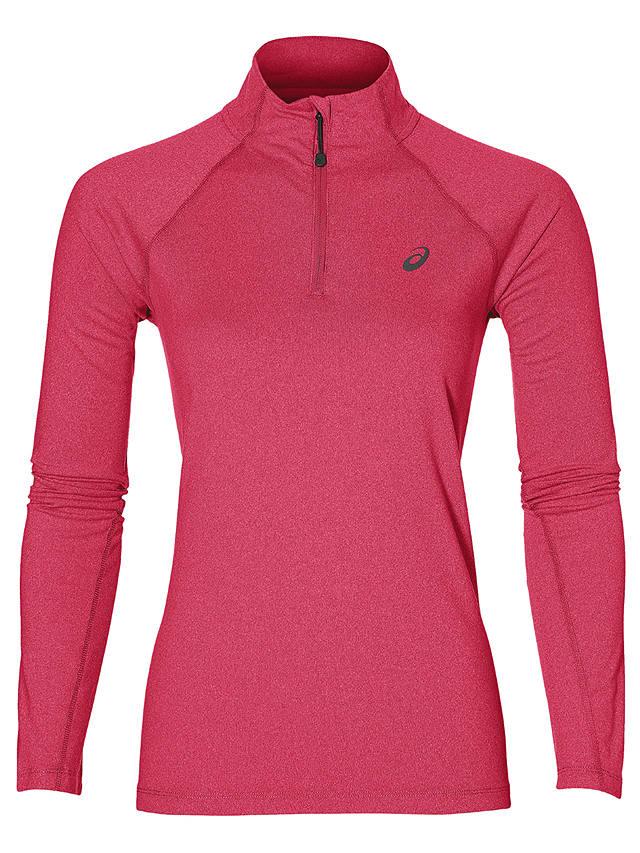 Asics Running Long Sleeve Half Zip Jersey Top, Pink at John Lewis ...