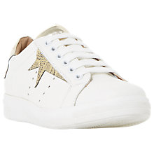 Buy Dune Equel Lace Up Trainers, White/Gold Online at johnlewis.com