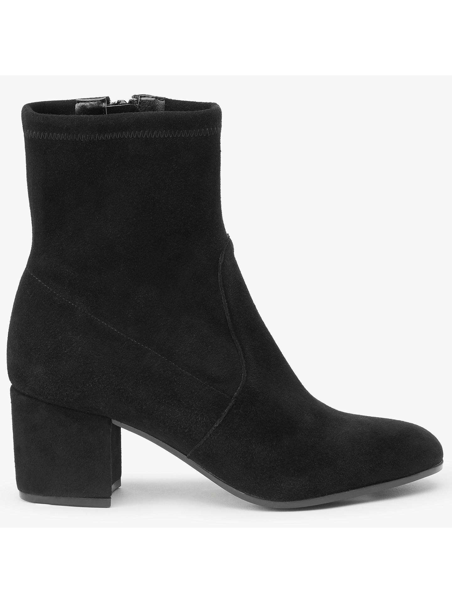 4f9ae88b9af65 Buy John Lewis Olive Block Heeled Ankle Sock Boots, Black Suede, 3 Online  at ...