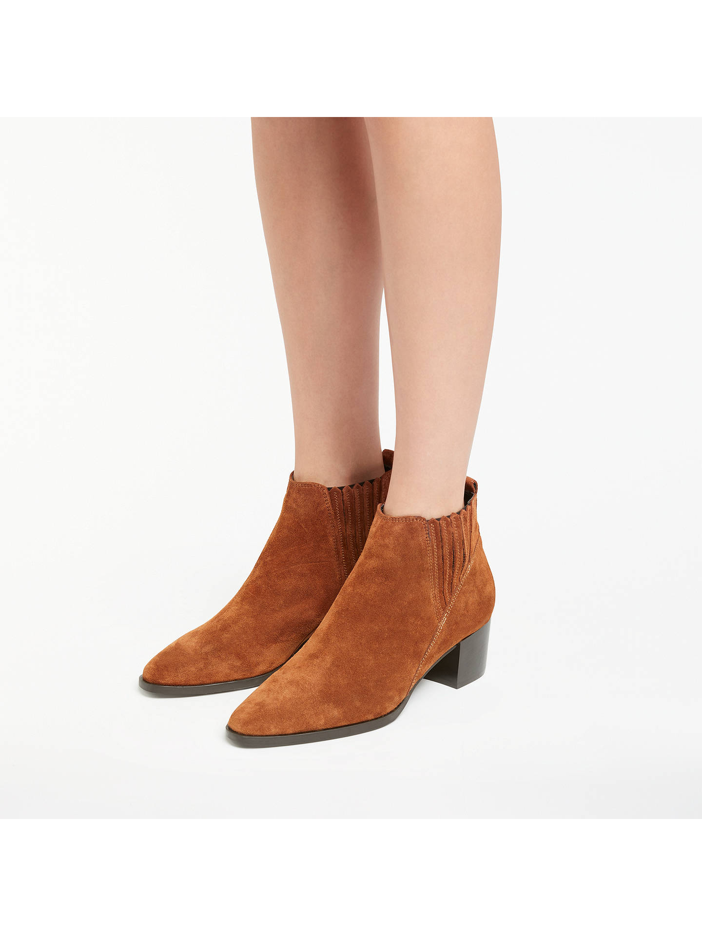 c6e18a7b6 ... Buy John Lewis Peyton Block Heeled Ankle Chelsea Boots, Cognac Suede, 3  Online at ...