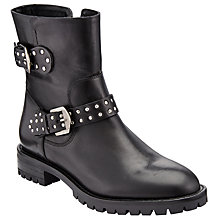 Buy John Lewis Piper Stud Biker Boots, Black Leather Online at johnlewis.com