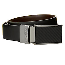 Buy Ted Baker Twill Reversible Leather Belt, Black/Brown Online at johnlewis.com