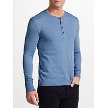 Buy Paul Smith Long Sleeve Henley Top, Blue Online at johnlewis.com