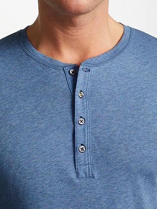 PAUL SMITH DENIM BLUE LOUNGEWEAR HENLEY COTTON T-SHIRT TOP SIZE SMALL