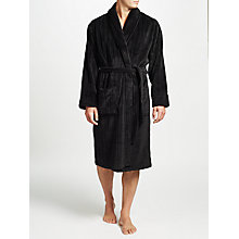 Buy John Lewis Embossed Stripe Fleece Robe, Black Online at johnlewis.com