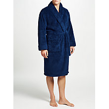 Buy John Lewis High Pile Fleece Robe, Navy Online at johnlewis.com