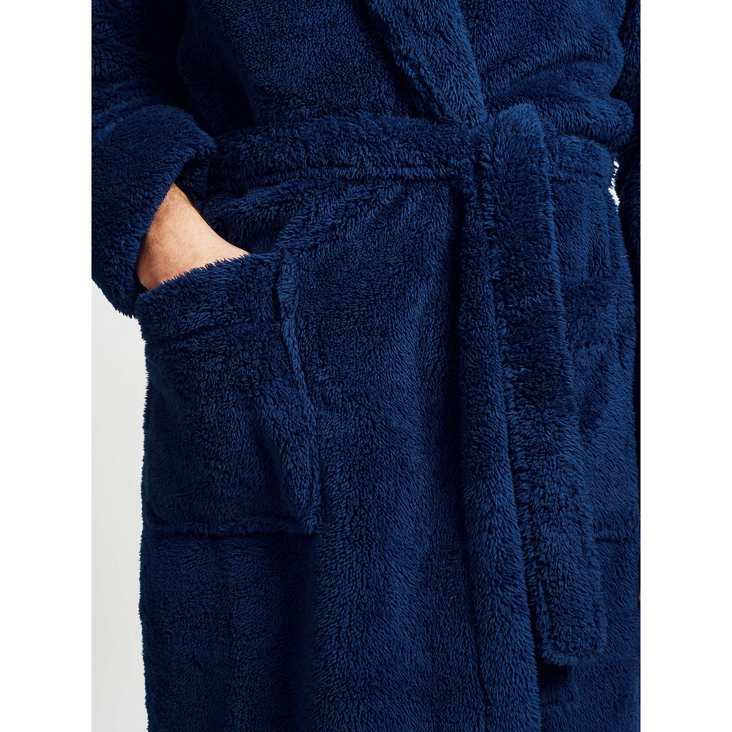 BuyJohn Lewis High Pile Fleece Robe, Navy, S Online at johnlewis.com