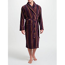 Buy John Lewis Stripe Velour Cotton Robe, Burgundy Online at johnlewis.com