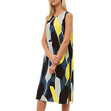 Buy Jaeger Silk Graphic Floral Dress, Blue/Multi Online at johnlewis.com