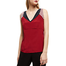 Buy Jaeger Silk Colour Block Panel Top, Bordeaux/Multi Online at johnlewis.com