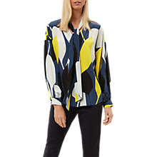 Buy Jaeger Graphic Floral Silk Blouse, Multi Online at johnlewis.com