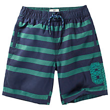 Buy Fat Face Boys' Striped Board Shorts, Green/Blue Online at johnlewis.com