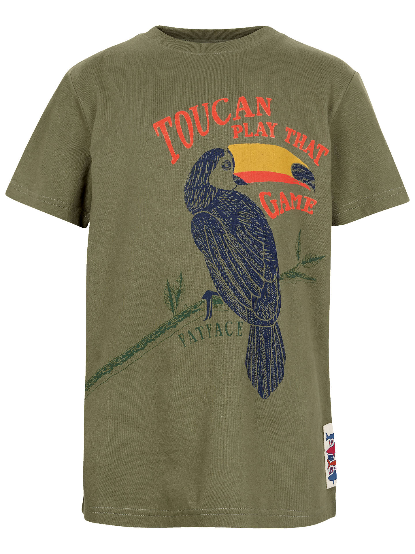90d899a17 Fat Face Boys' Toucan Print T-Shirt, Green at John Lewis & Partners