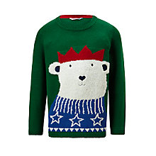 Buy John Lewis Boys' Knitted Bear Jumper, Green Online at johnlewis.com