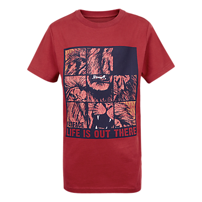 Fat Face Children's Lion Puzzle T-Shirt, Red