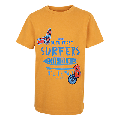 Fat Face Boys' Surf Badge T-Shirt, Yellow