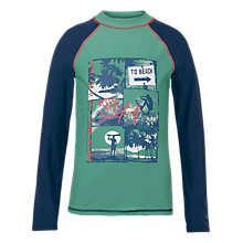 Buy Fat Face Boys' Surf Tile Rash Vest, Green Online at johnlewis.com
