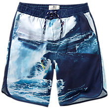 Buy Fat Face Boys' Surf Board Photo Print Board Shorts, Blue Online at johnlewis.com