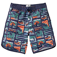 Buy Fat Face Boys' Surf Tile Board Shorts, Green/Blue Online at johnlewis.com