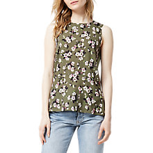 Buy Warehouse Mae Floral Print Woven Top, Green Online at johnlewis.com